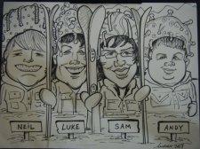 Family Ski Caricature