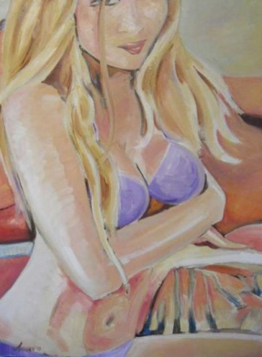 "SOLD ""Model"" Jason J. Anhorn Oil on Canvas."