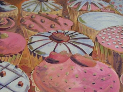 "SOLD ""Cupcakes"" Jason J. Anhorn Oil on Canvas."