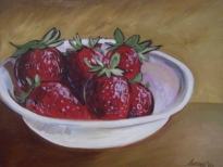 "PRIVATE COLLECTION ""Bowl of Strawberries"" Jason J. Anhorn Oil on Canvas"