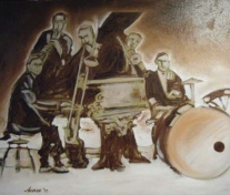 "PRIVATE COLLECTION ""That Swingin' Jazz Band"" Jason J. Anhorn Oil on Canvas."