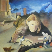 """PRIVATE COLLECTION """"Construction of Construction"""" Jason J. Anhorn Oil on Canvas."""