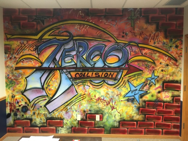 AERCO collision Mural Altoona Wisconsin January 2016 in the owner's office.
