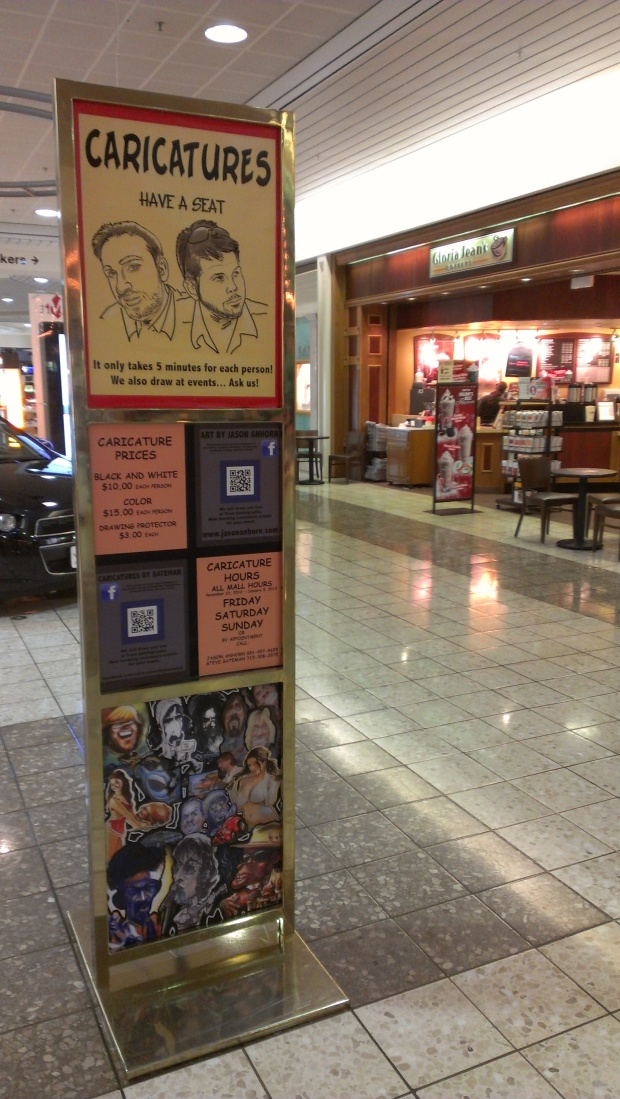 Caricatures are a great keepsake.  Get a caricature at Oakwood Mall in Eau Claire, WI.