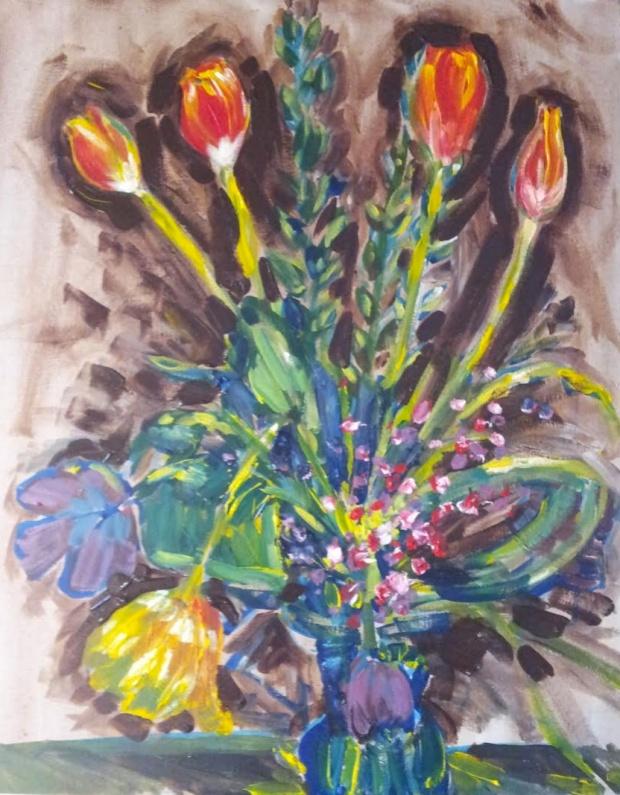 Tulips ; Acrylic on Canvas